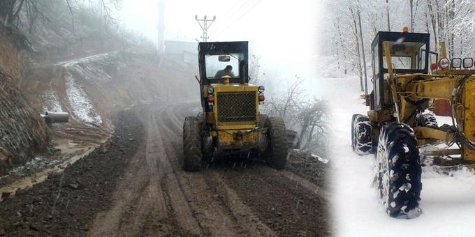 19 Mayıs'ta kar yağışına rağmen yol açma çalışmaları sürüyor