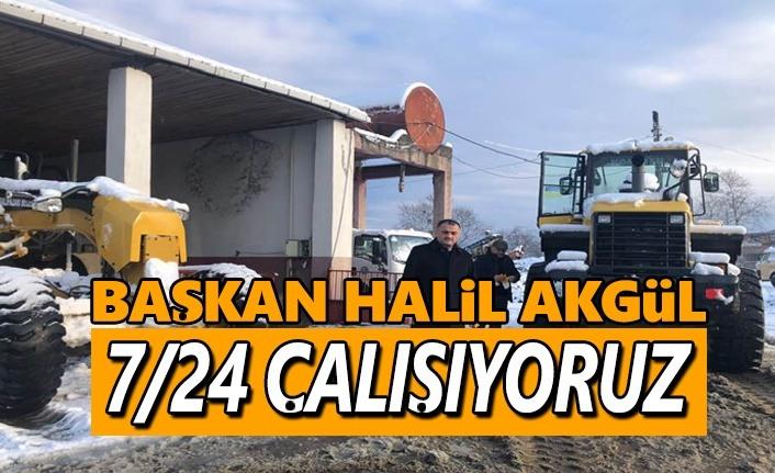 Başkan Akgül, Kar Çalışmalarına gece gündüz devam