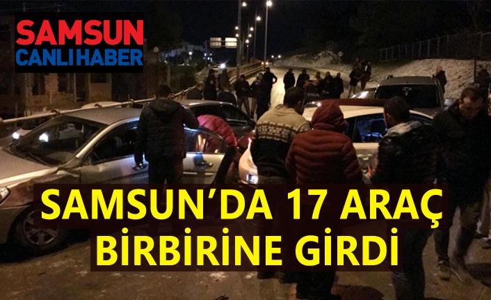 Samsun'da gizli buzlanma, 17 araç birbirine girdi!