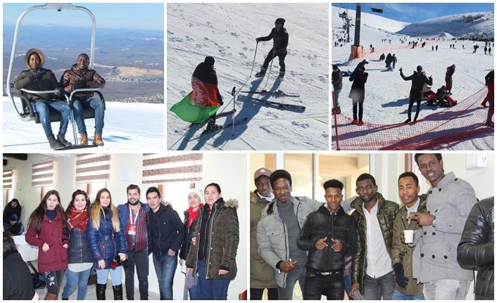 OMÜ'lü Uluslararası Öğrenciler Ladik Kayak Merkezinde