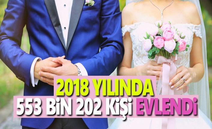2018 Yılın'da 553 Bin 202 Kişi Evlendi
