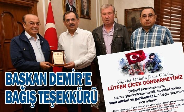 Başkan Mustafa Demir'e bağış teşekkürü