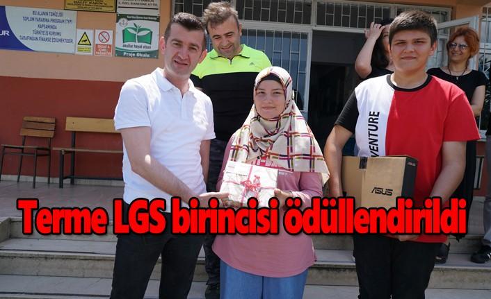 Terme LGS birincisi ödüllendirildi