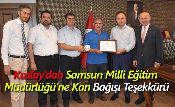 Kızılay'dan Samsun Milli Eğitim Müdürlüğü'ne Kan Bağışı Teşekkürü