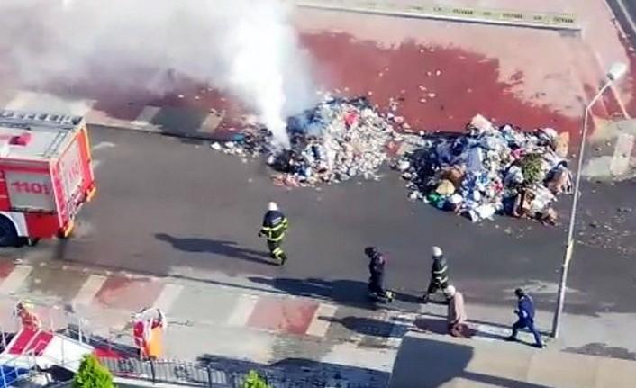 Çöp konteynerı bomba gibi patladı!- Samsun Haber