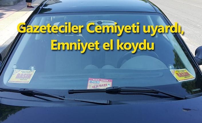 Sahte basın kartı taşıyan araç sahibine gözaltı