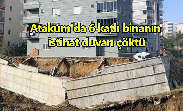 Atakum'da 6 katlı binanın istinat duvarı çöktü