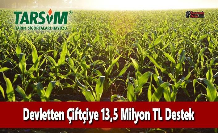TARSİM Kapsamında Çiftçiye 13,5 Milyon TL Devlet Desteği