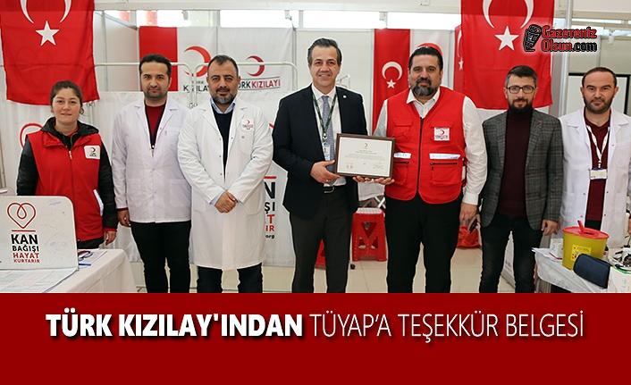 Türk Kızılay'ından TÜYAP'a Teşekkür Belgesi