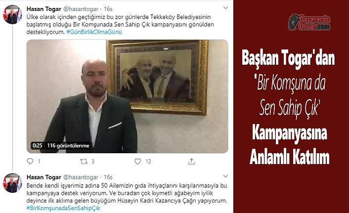 Başkan Togar'dan 'Bir Komşuna da Sen Sahip Çık' Kampanyasına Anlamlı Katılım