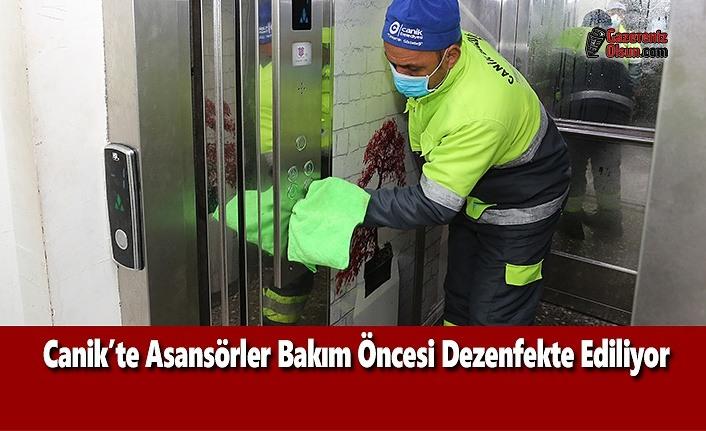 Canik'te Asansörler Bakım Öncesi Dezenfekte Ediliyor