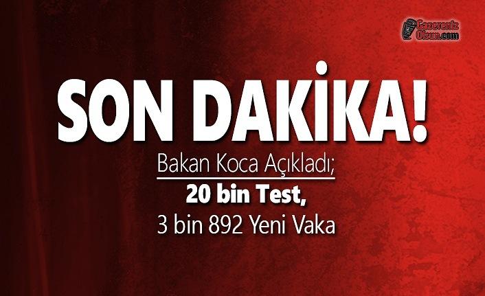 Bakan Açıkladı; 20 bin Test, 3 bin 892 Yeni Vaka