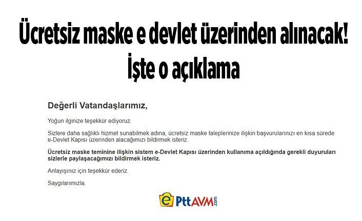 Maske PTT Avm sitesi çöktü, Ücretsiz maske e devlet üzerinden alınacak!