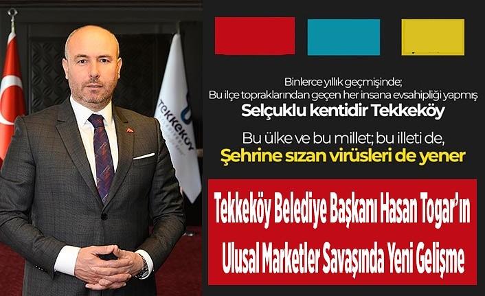 Tekkeköy Belediye Başkanı Hasan Togar boykot çağrısından bir marketi kaldırdı