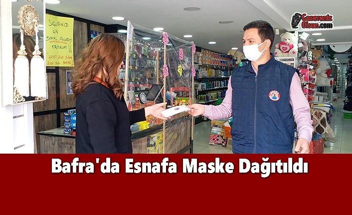 Bafra'da Esnafa Maske Dağıtıldı