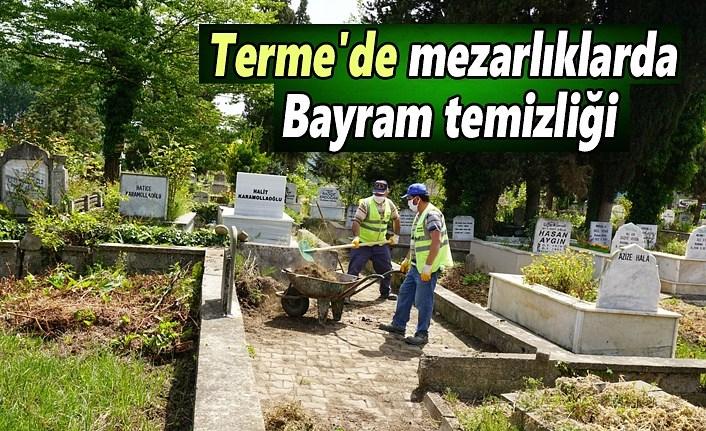 Terme'de mezarlıklarda bayram temizliği