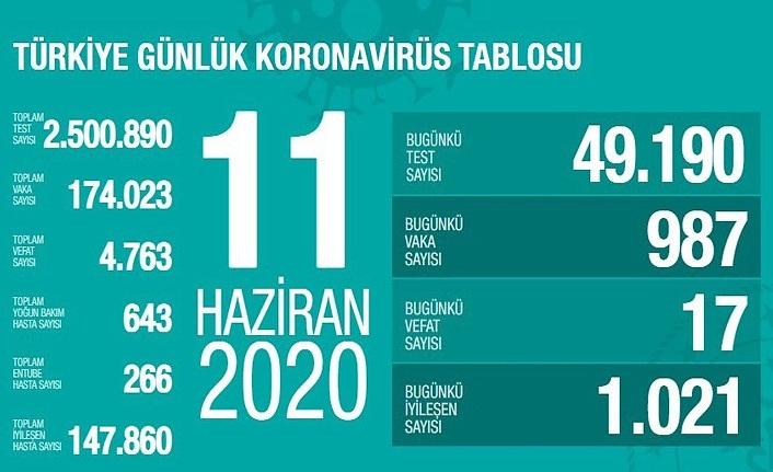 11 Haziran Türkiye Koronavirüs Tablosu, Koronavirüs vefat, vaka iyileşen, entübe sayısı