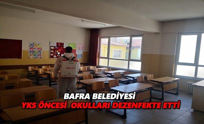 Bafra Belediyesi yks öncesi okulları dezenfekte etti