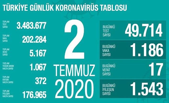 2 Temmuz Koronavirüs Tablosu - Bin 186 yeni vaka