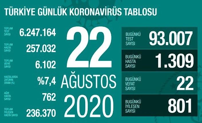 22 kişi hayatını kaybetti, 1309 yeni vaka tespit edildi