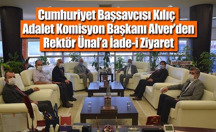 Cumhuriyet Başsavcısı Kılıç ve Adalet Komisyon Başkanı Alver'den Rektör'e ziyaret
