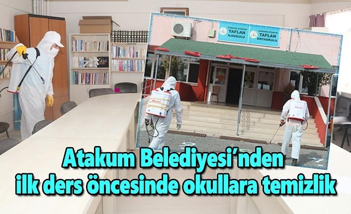 Atakum Belediyesi'nden ilk ders öncesinde okullara temizlik
