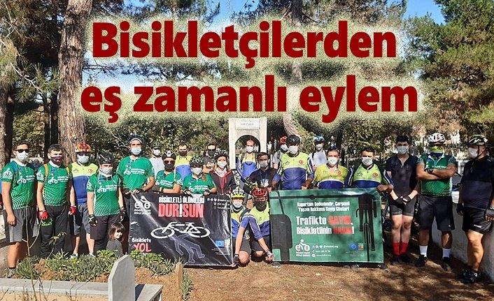 Bisikletçilerden Türkiye'de eş zamanlı eylem