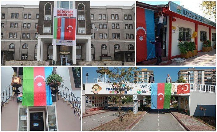 İlkadım'da Türkiye ve Azerbaycan Bayrakları dalgalanıyor