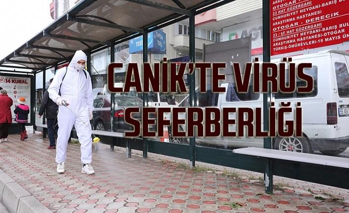 Canik'te koronavirüs temizliği