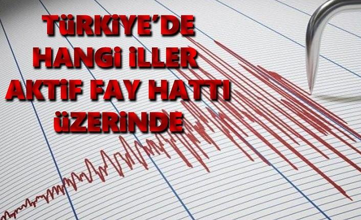 Türkiye'de Aktif fay hatları üzerinde hangi iller var?