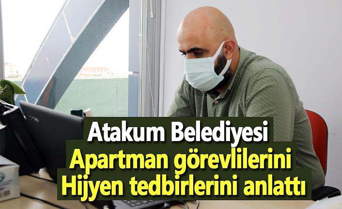 Atakum Belediyesi apartman görevlilerini hijyen tedbirlerini anlattı