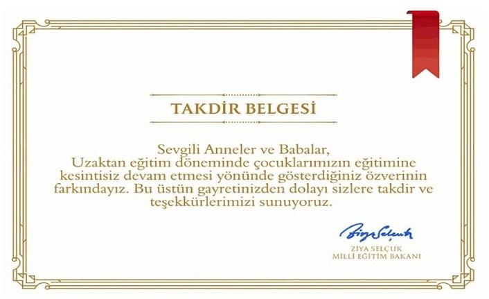 Milli Eğitim Bakanı Selçuk'tan Anne ve babalara takdir belgesi