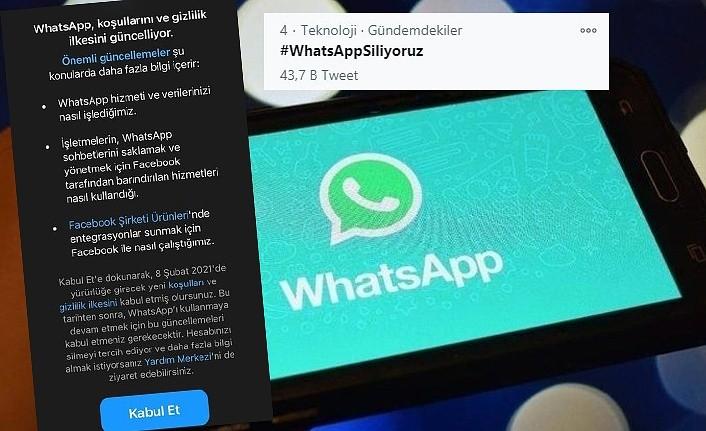 WhatsApp 'ı siliyoruz, WhatsApp sözleşmesine hayır paylaşımları yapılıyor!