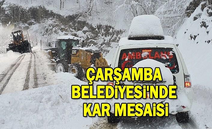 Çarşamba Belediyesi'nden kar mesaisi