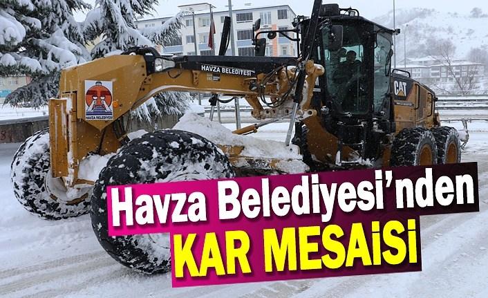 Havza Belediyesi'nde kar mesaisi