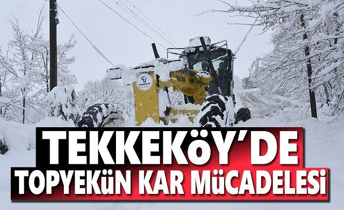 Tekkeköy'de Kar Mücadelesi Devam Ediyor