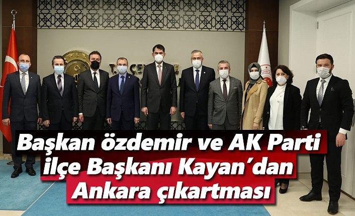 Başkan Özdemir ve AK Parti İlçe Başkanı Kayan'dan Ankara çıkartması