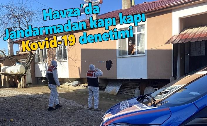 Havza'da Jandarmadan kapı kapı Kovid-19 denetimi
