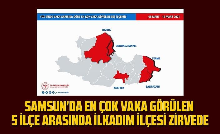 Samsun'da hangi ilçelerde vaka sayısı yüksek