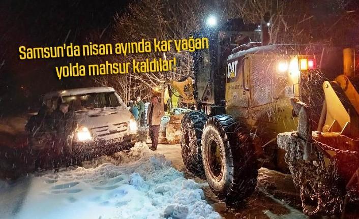 Kar nedeniyle yolda kalan aileyi ekipler kurtardı -Salıpazarı Haber