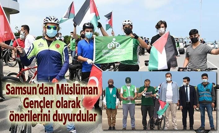 Filistin ve Kudüs için pedal çevirip basın açıklaması yaptılar