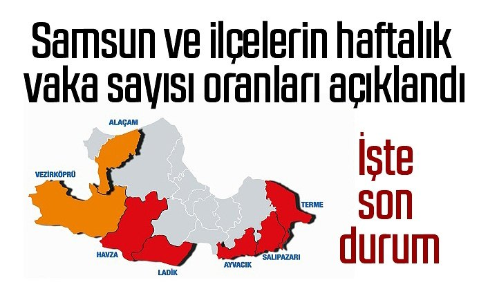 Samsun ve ilçelerin 1-7 Mayıs haftalık vaka sayısı oranları açıklandı