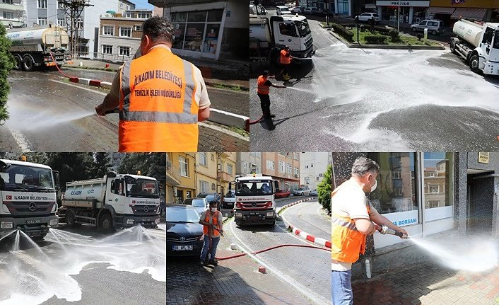 Tam kapanma ile boşalan sokaklar yıkandı - Samsun Haber