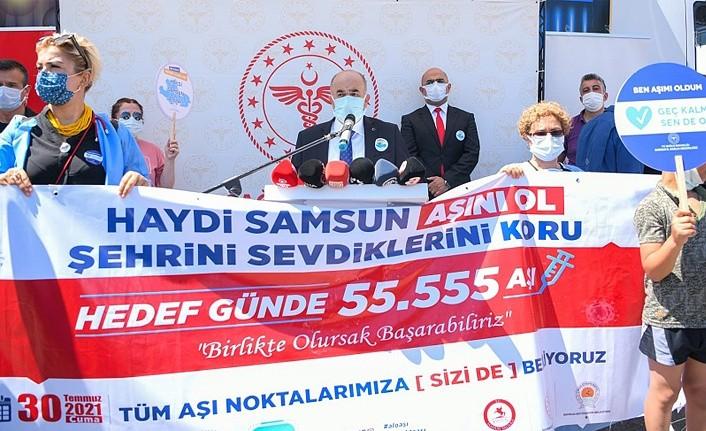 Samsun'da aşı kampanyası başlatıldı hedef 1 Günde 55 bin 555 Aşı