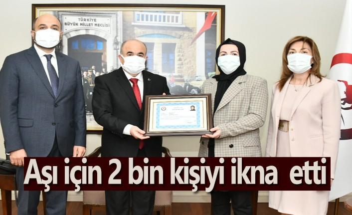 Aşı için 2 bin kişiyi ikna eden Küçükoğlu'na başarı belgesi - Samsun Haber