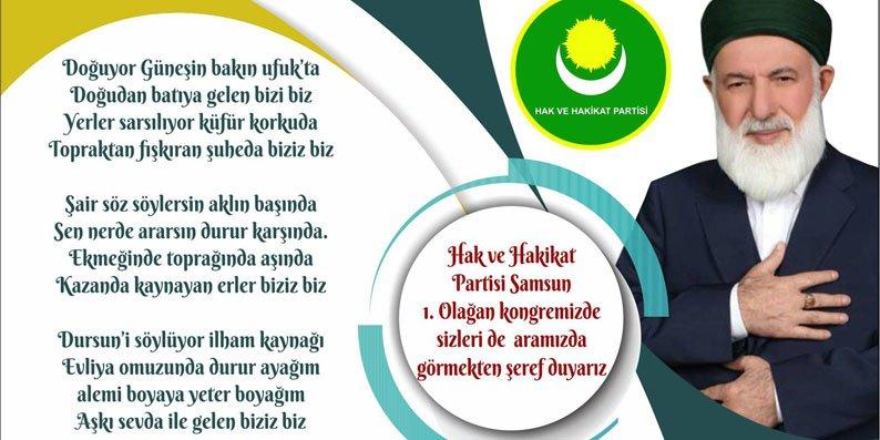 Hak ve Hakikat Partisi Samsun'da toplanıyor