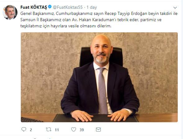 Milletvekili Köktaş'tan Başkan Karaduman'a tebrik mesajı