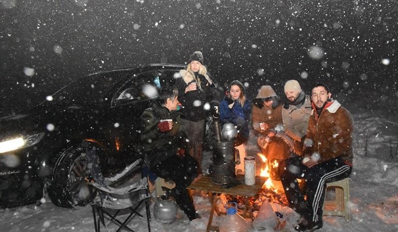 Samsun'un yüksek kesimlerinde kar yağışı etkili oldu