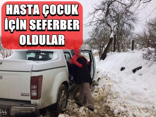 Terme'de karda mahsur kalan hasta çocuk için seferberlik