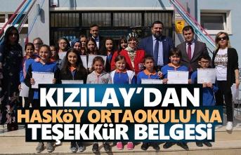 Kızılay'dan Hasköy Ortaokulu'na Teşekkür